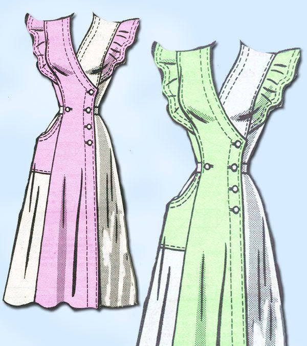 1940s Vintage Misses' Sun Dress Uncut   Anne Adams Sewing Pattern 4604 Size 12 #AnneAdamsMailOrderPattern #PinaforeDress