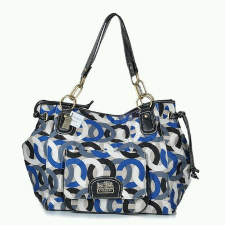 Blue white black and grey coach purse
