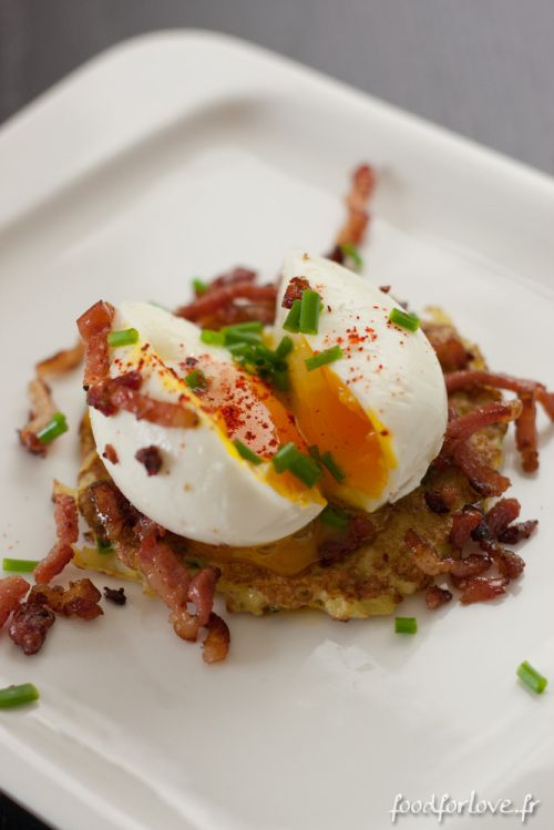 Paillassons de Pommes de Terre, Oeufs Mollets et Lardons Grillés - In the Food for Love