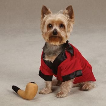 Hef is definitely getting a Hef jack!!!! Hahahab Party Hounds Smoking Jacket Dog Halloween Costume at BaxterBoo