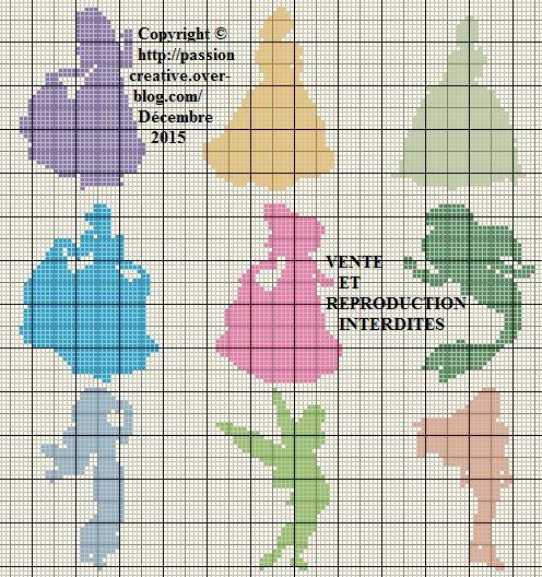Grille gratuite point de croix : Princesses Disney Silhouette - Le blog de Isabelle