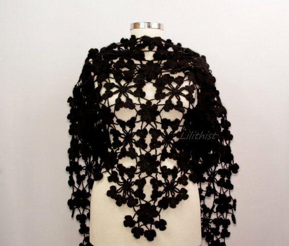 Black Shawl Wrap Flower Shawl Crochet Lace Shawl by lilithist