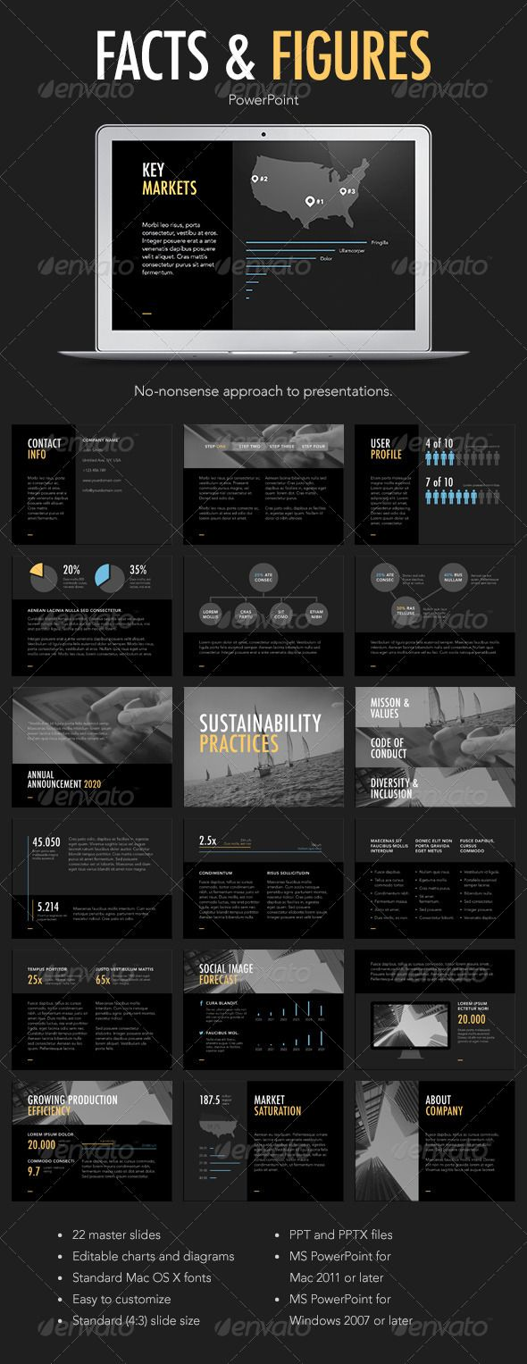 Facts & Figures PowerPoint Template - Powerpoint Templates Presentation Templates