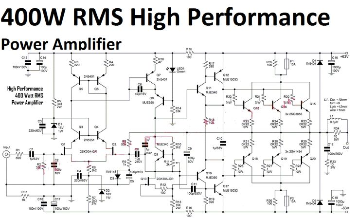 high performance power amplifier 400 watt audio schematic hifi amplifier circuit diagram. Black Bedroom Furniture Sets. Home Design Ideas