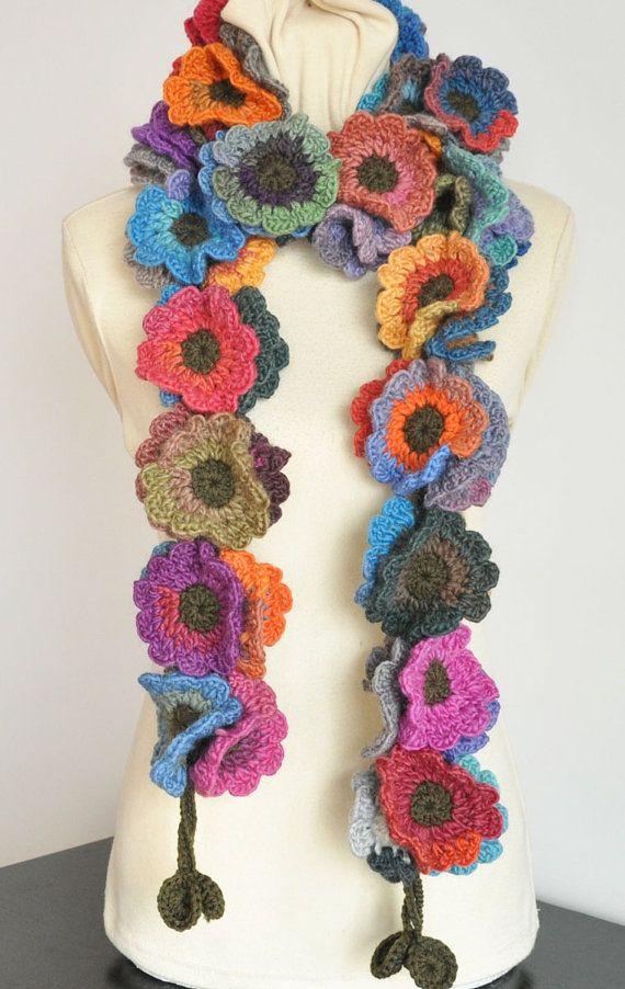 Floral Fall - Long - Multicolor Crochet Flowers long Scarf