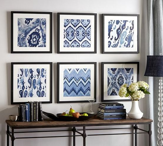 love the mix and match wall pieces in blue - combination looks beautiful