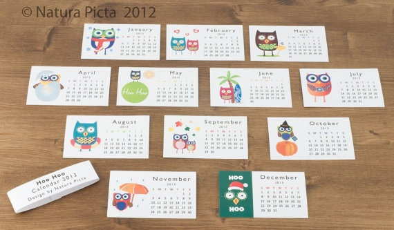 Owls Mini Calendar  22x35 inch on White Paper  by naturapicta, $10.00