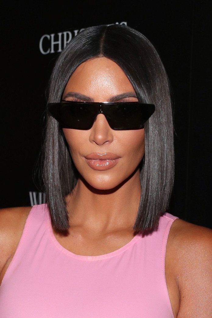 Glass Hair Fall 2018 Hair Trends Kim Kardashian Short Hair Blunt Haircut Super Shiny Hair