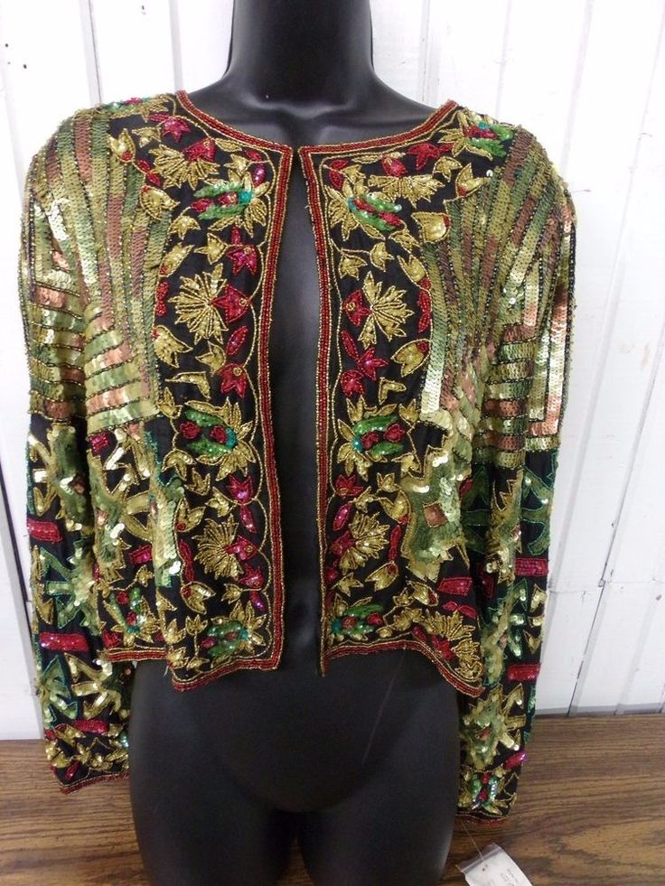 Vintage Adrianna Papell Evening Nwt Sequin Jacket Plus