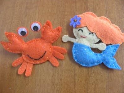 Fieltro, la locura: Cangrejo de fieltro!! animales del mar en fieltro!!