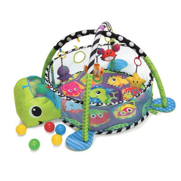 Infantino Grow With Me Gym & Ball Pit. Have a ball with this action-packed activity gym! This one-of-a-kind gym converts into a fun, sensory-stimulating ball pit that's perfect for busy toddlers. Includes 40 colorful balls with convenient storage inside the turtle's head. And, four adorable sea pals delight little ones with a peek-a-boo mirror, grasping ring, textured teether and rattle. This versatile playtime favorite will grow with your family to offer years of priceless entertainment.