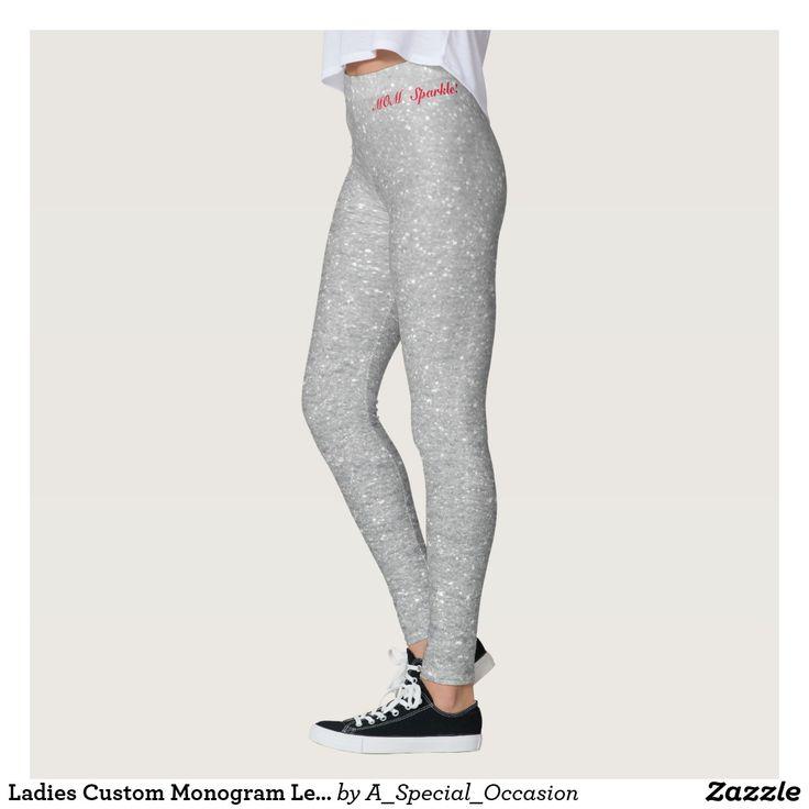 Ladies Custom Monogram Leggings - Silver Sparkle