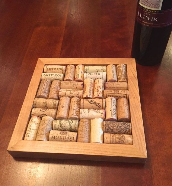 Our Wine Cork Trivet Kit is a perfect gift for any wine enthusiast. The trivet is used to protects your fine furniture while providing memories of good times drinking that favorite bottle of wine. We provide the hand rubbed, cherry wood frame with solid base, felt protectors, glue and instructions. You supply the 32 corks, glue them on the base and Voila, you have a one of a kind a keepsake. Dimensions: 8.5 inch x 8.5 square  Please note: CORKS NOT INCLUDED. Wine corks do vary, we use the…
