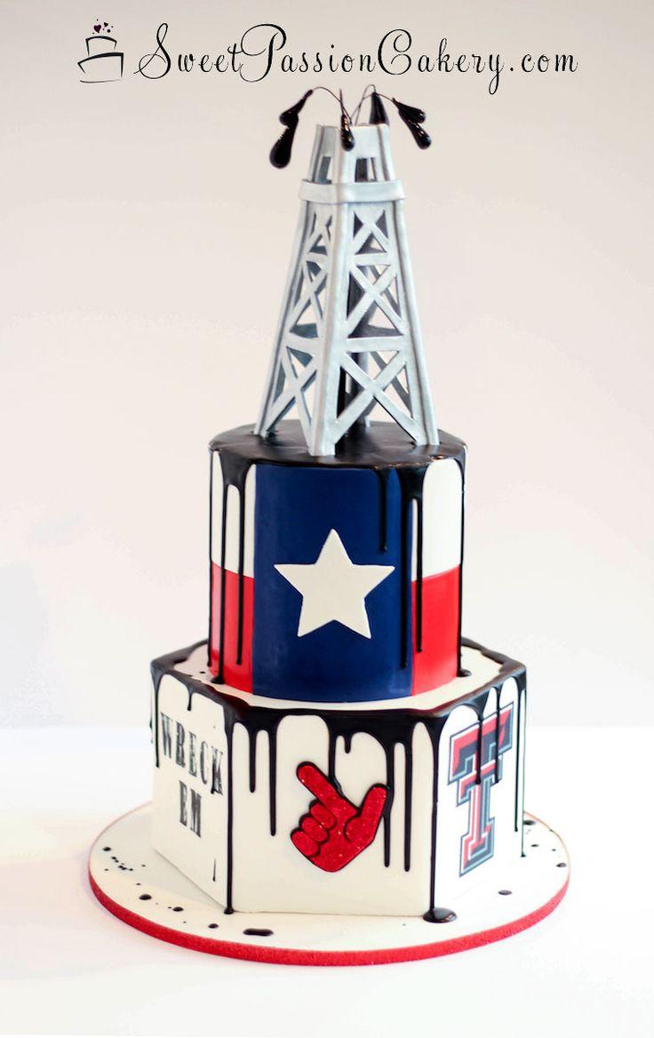 Oil Derrick Texas Tech Themed Groom's Cake  www.sweetpassioncakery.com