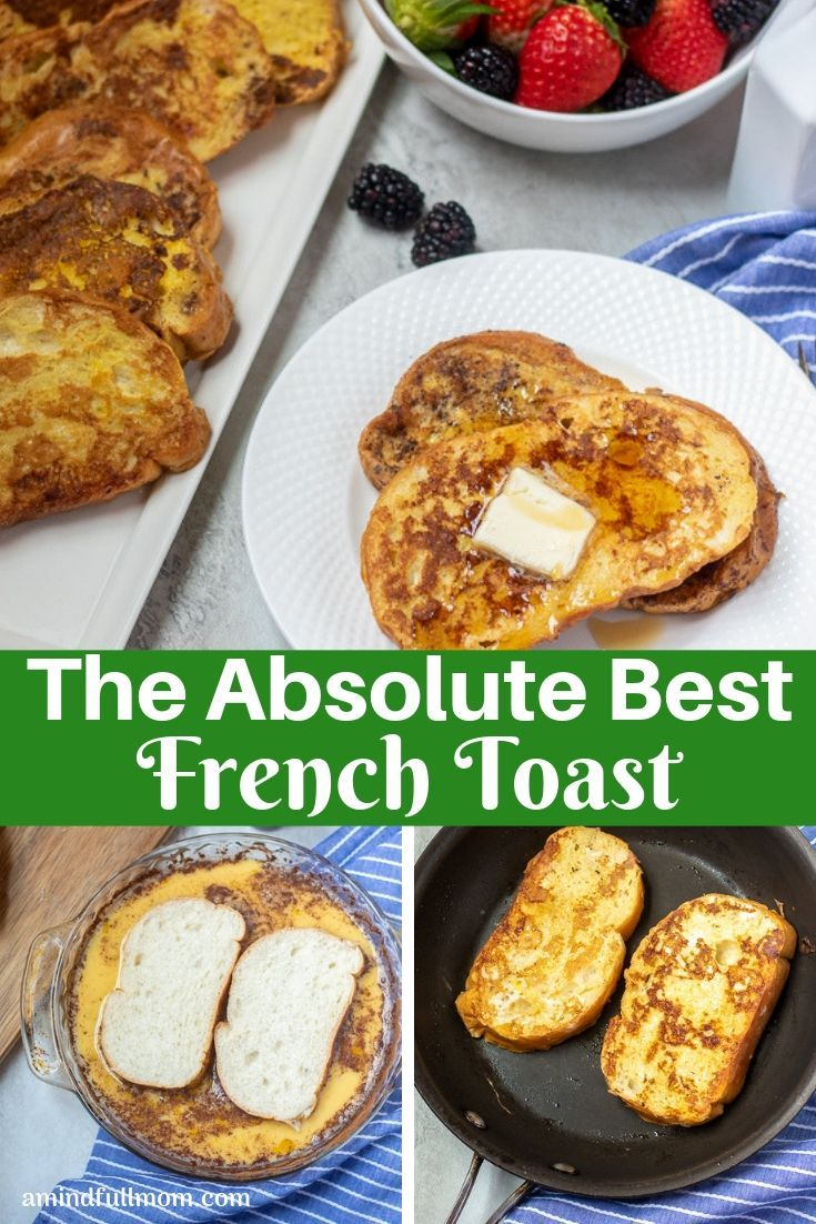 This is the best recipe for traditional French Toast! Thick bread is soaked in a perfectly sweet egg custard and pan fried to perfection. #frenchtoas...