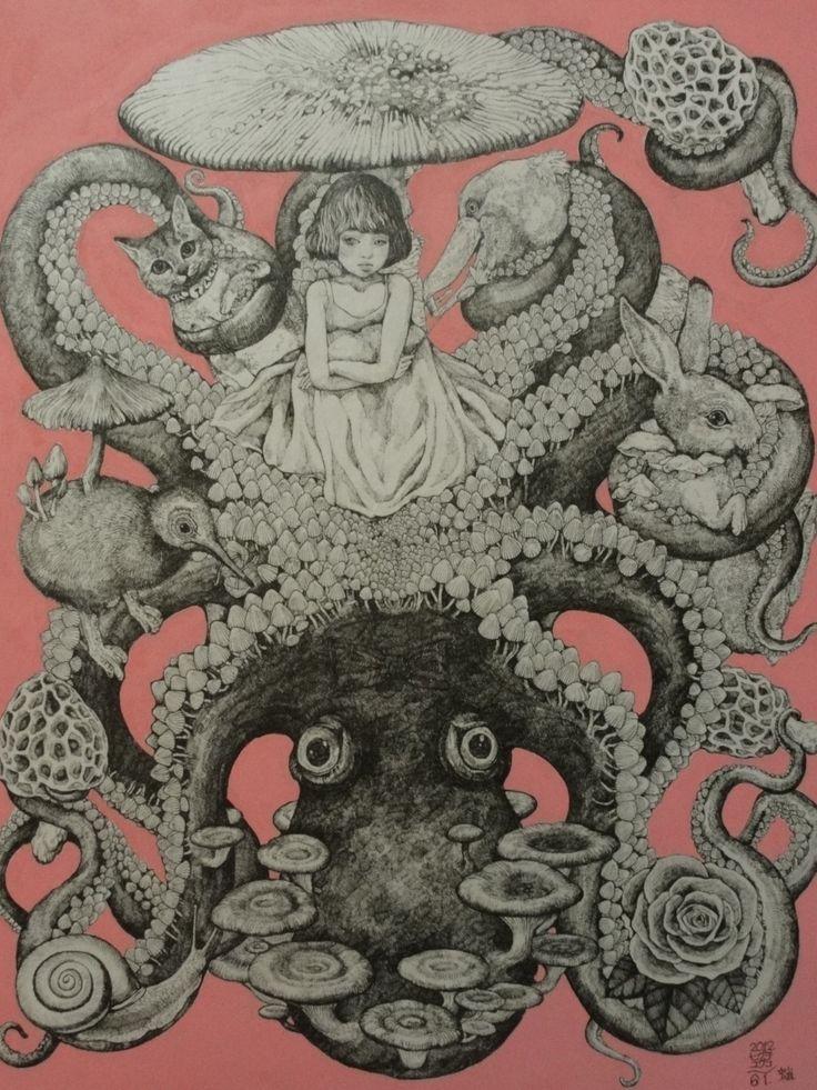 ヒグチユウコ画 2012 きのこ展出品 蛸 - Higuchi Yuko
