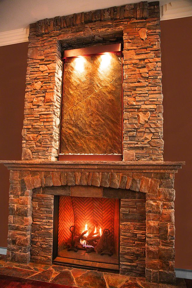 Water Fountains Indoor Living Room Craftsman with Above Fireplace Artwork Copper
