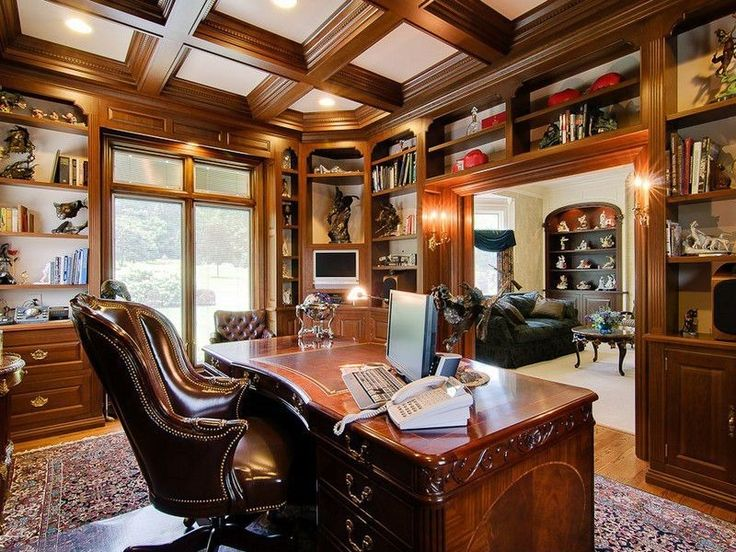traditional home office with wall sconce french doors hardwood floors box ceiling - Traditional Home Office