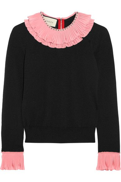 GUCCI Embellished Ruffled Silk, Wool And Cashmere-Blend Sweater. #gucci #cloth #knitwear