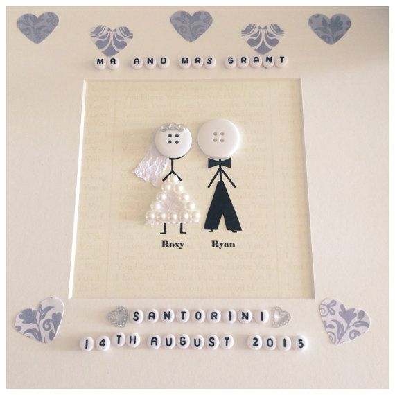Stickman bride and groom wedding frame can be made to suit wedding colours. Add your own wording and the couples names to make a truly bespoke personalised gift. Displayed in a 10 black or white frame