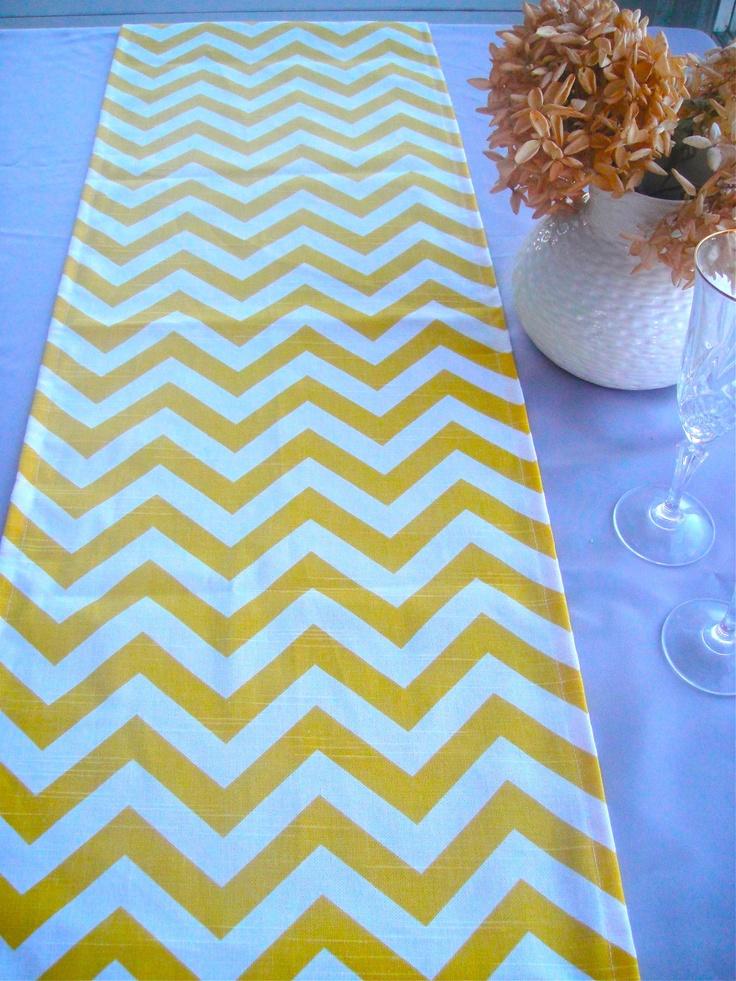 Yellow CHEVRON Table Runner 13x72 Wedding Topper Cover 2200 Via