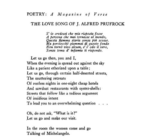 """figurative language in the love song of j alfred prufrock About """"the love song of j alfred prufrock""""  its claim to be a 'love song' is ironic there is no mention or evidence of love in the poem the women are distant, pretentious creatures ."""