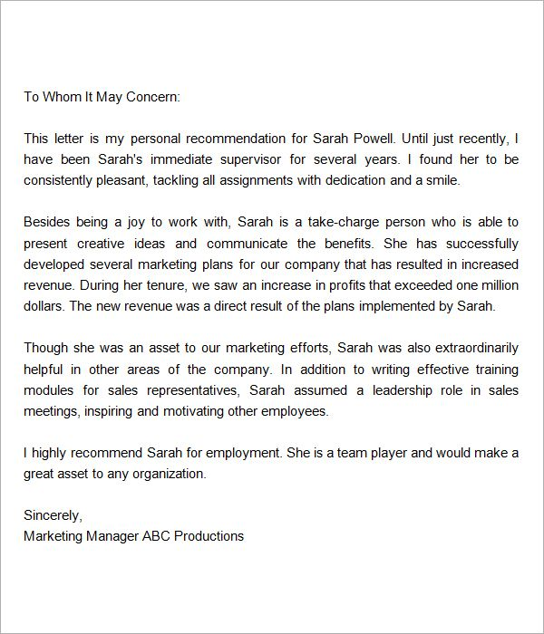 Sample Job Recommendation Letter Sample Employee Reference – Letter Templates Word