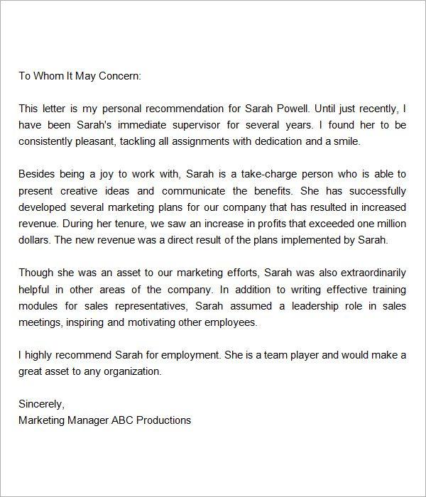 7 best reference letter images on Pinterest Letter templates - endorsement letter for employment