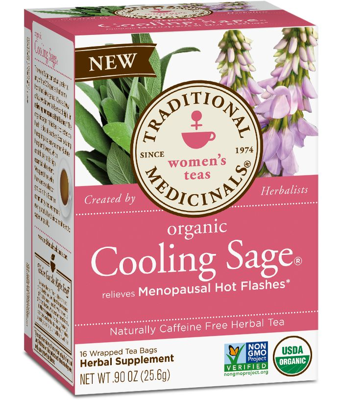"Herbal Power Relieves excess sweating and the night sweats associated with menopausal hot flashes. Reason to Love While we won't say the sage in this tea has mystical properties, we do know that the Latin name for sage (Salvia) means ""to be saved."" When menopause brings on those hot flashes & excess sweating being saved is exactly what you might need! We love this traditional blend of sage& motherwort for its ability to help relieve hot flashes associated with menopause& soothe the body…"