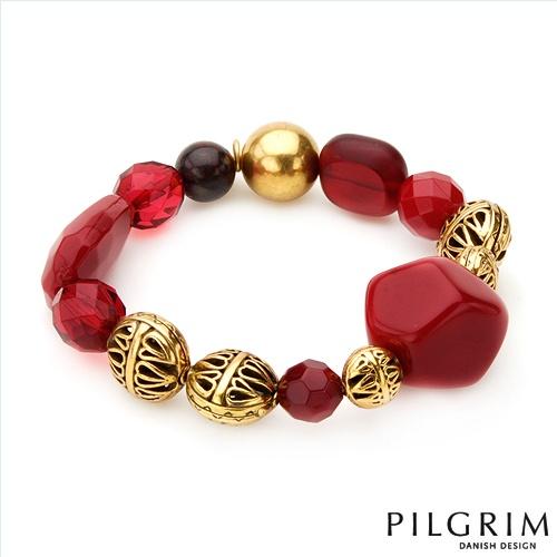 $18.00  PILGRIM SKANDERBORG, DENMARK Vibrant Brand New Bracelet Beautifully Designed in Yellow Base metal and Red Plastic. Total item weight 31.0g  Length 8in