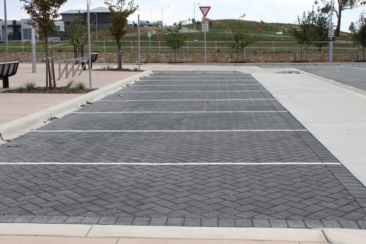 HydroSTON permeable concrete pavers used for a carpark and parking bay at Amaroo Group Centre, ACT, Australia.