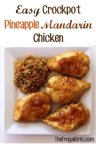 Easy Crockpot Pineapple Mandarin Chicken Recipe! ~ from TheFrugalGirls.com {you'll love how easy and delicious dinner will be!}