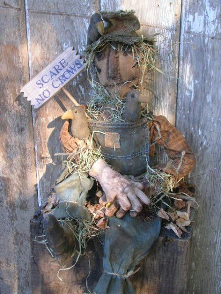 PatternMart.com ::. PatternMart: Fall Halloween Primitive Scarecrow Doll & Crows-SPPO Scare No Crows