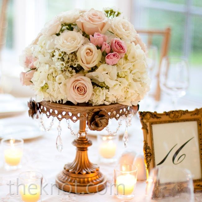 Cream and Blush Centerpieces - colors for bridesmaids bouquets?