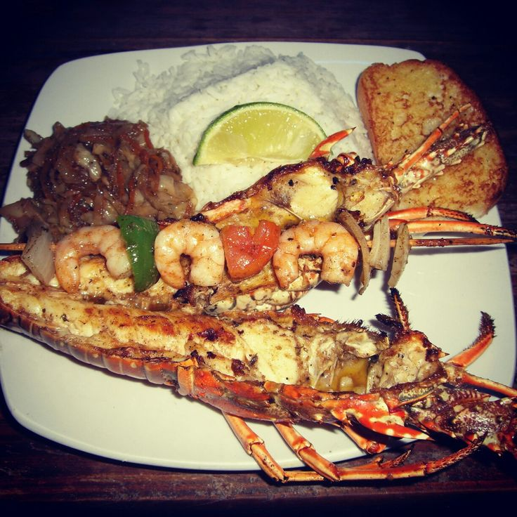 Grilled Lobster with coconut rice in Caye Caulker, Belize, Central America