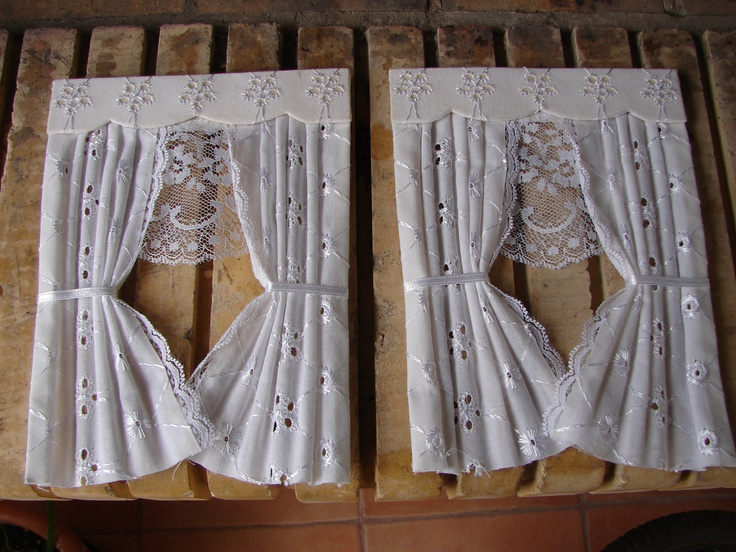 1:12 Scale Pair,white Broderie Anglaise,Dollu0027s House Curtains,5