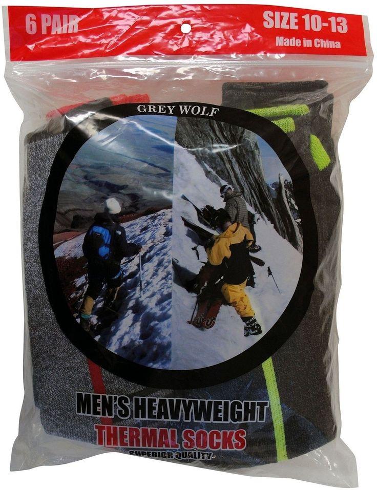 Grey Wolf Mens 6 Pairs Heavyweight Thermal Comfort Hiker Crew Length Sock