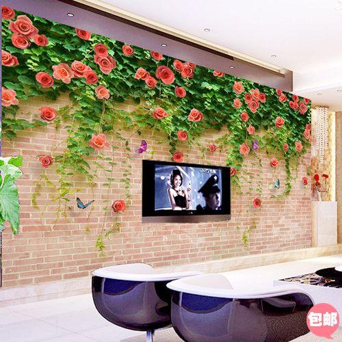 3d mural tv background wallpaper flower vine brick wall(China ...