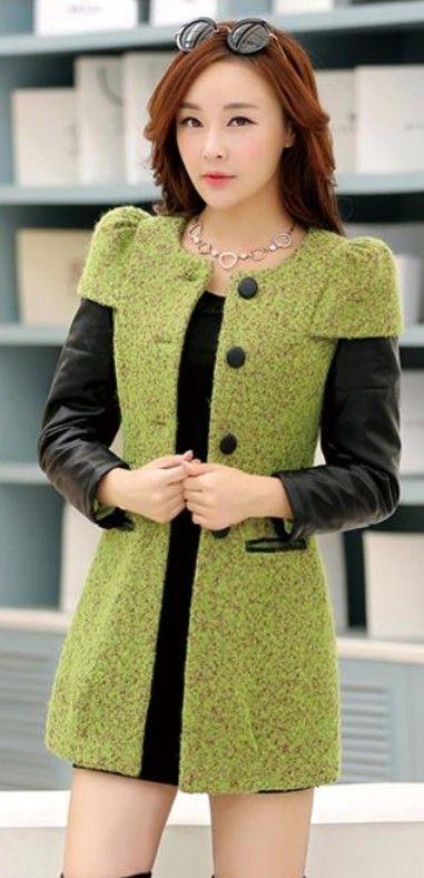 Stylish Cashmere Coat with PU Leather Sleeves YRB0440 #greencoat #wool