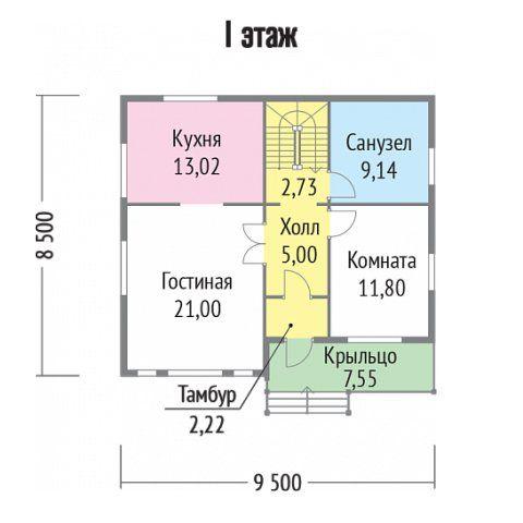 """Дом Варяг размер 8,5х9,5 м; 134 кв.м Стоимость базовой комплектации (без коммуникаций) 1 500 000 р. """"Под ключ"""" - 1 900 000 р. . . . Комплектация: Фундамент -Мелкозаглубленная лента. Высота потолков 1-й этаж - 2,600 м 2-й этаж - 2,500 м Стены -Каркасные из п/м 50х150 мм. По стенам подшита ГКЛ 9 мм с внутренней стороны по ОСП-9 мм, с наружной − сайдинг виниловый, по ветровлагозащитной паропроницаемой мембране, по ОСП-9 мм. Утепление − 150 мм. Перегородки -Каркасные из п/м 50х100 мм, с…"""