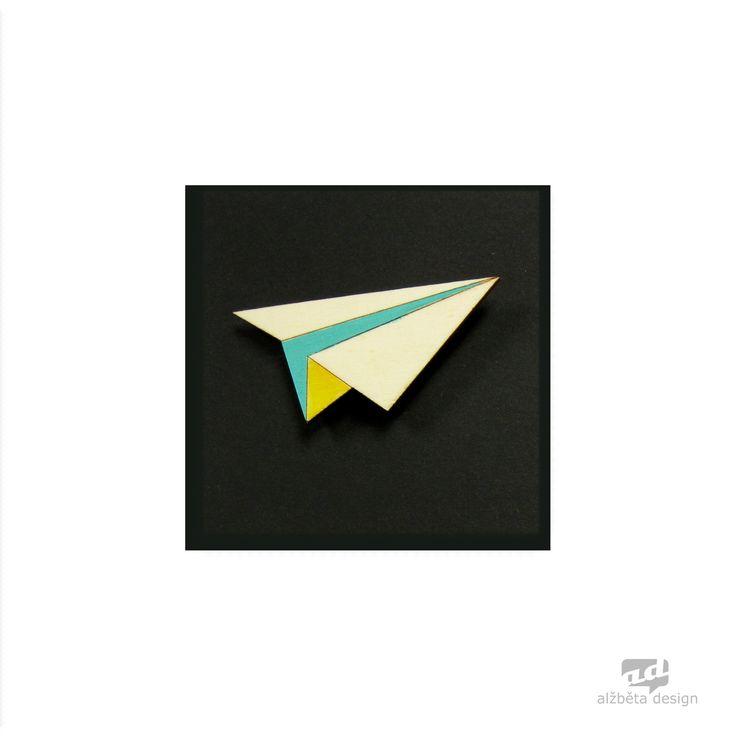 Paper plane - plywood brooch