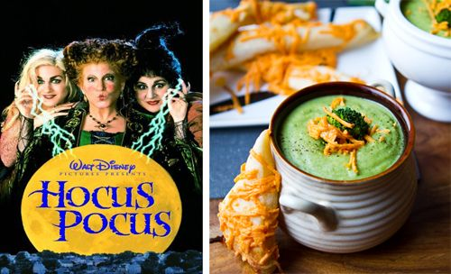 Hocus Pocus Witches Brew Broccoli Cheddar Soup and Cheezy Garlie Broomsticks and Witch Hats.