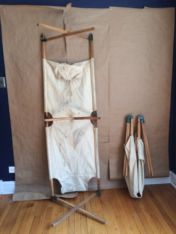 rustic Americana vintage 1940's 50's canvas fold up portable cot The Telescope Folding Furniture Co made in the USA outdoors camping no 2