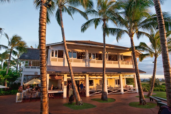 Merriman's Restaurant.  The photo shows the one in Poipu on Kauai, which I consider the best.  Excellent service and food.  One of the best dining experiences in Hawaii from a culinary standpoint.