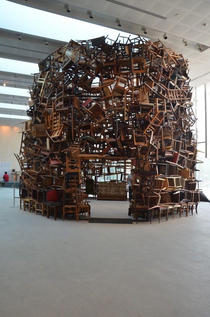 'Chairs for Abu Dhabi' (2012) by Japanese installation artist Tadashi Kawamata (b 1953). Abu Dhabi Art 2012. via Style is Necessity
