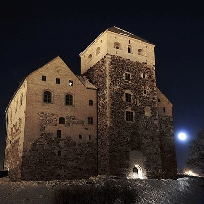 Turku castle at night. Finland