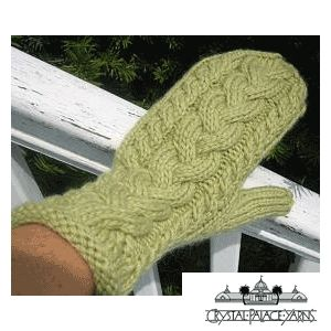 Lofty Cabled Mittens Knitted Adults' Mitten FREE Knitting Pattern by Crystal Palace Yarns