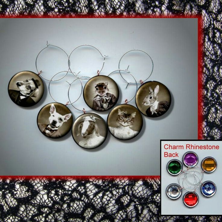 Animals Goat Cat Dog Sheep Rabbit Dressed like People Victorian Clothes Fashion Vintage Wine Party Glass Charm set photo jewelry altered art by Yesware11 on Etsy.. Click for details!
