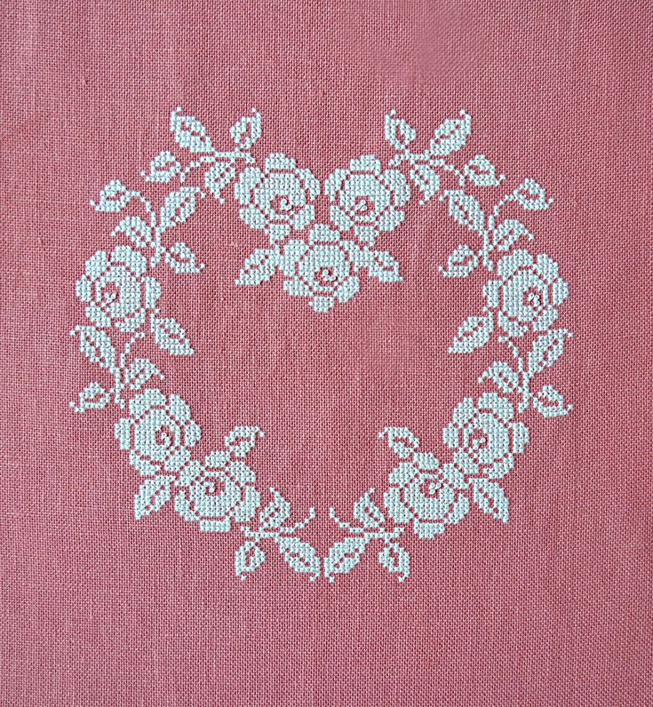 French Cross Stitched heart ~ white silk on rose linen ~ shabby chic