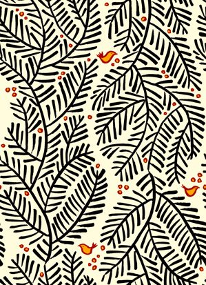 Arborvitae fabric -- black and cream foliage print with burnt-orange birds and berries -- spoonflower